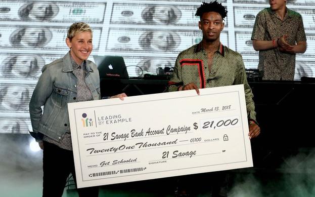 21 Savage Ellen DeGeneres'in programına katıldı.